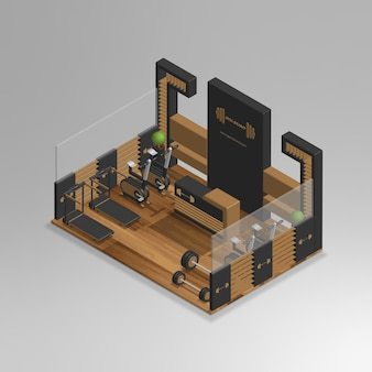 Realistic 3d isometric gym store