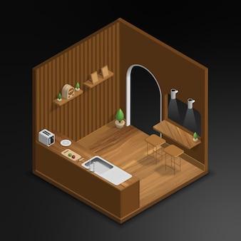 Realistic 3d isometric kitchen