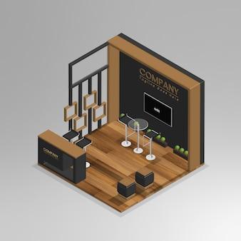 현실적인 3d 아이소메트릭 미니 쇼룸