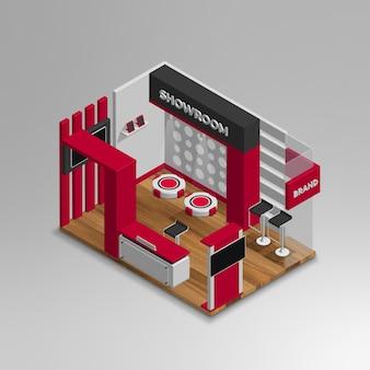 Realistic 3d isometric showroom vector