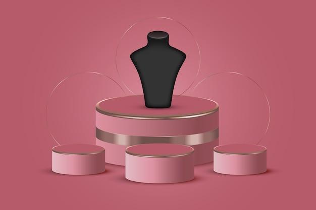 Realistic 3d jewelry showcase podium
