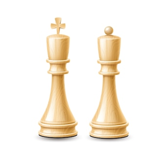 Realistic 3d king, queen chess pieces made of wood white colored