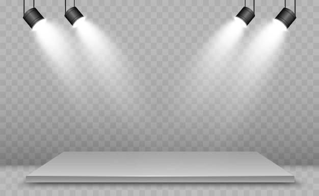 디자인 성능, 쇼, 전시를위한 플랫폼 배경이있는 현실적인 3d 라이트 박스. 라이트 박스 스튜디오 인테리어의 그림입니다. 스포트라이트가있는 연단.