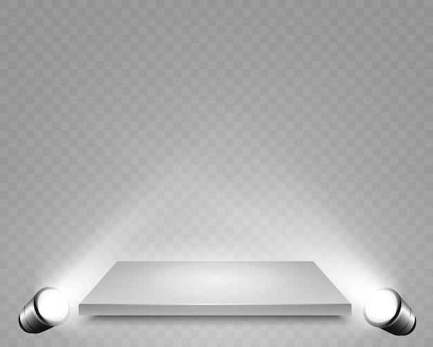 設計パフォーマンス、ショー、展示会のためのプラットフォームの背景を持つ現実的な3dライトボックス。ライトボックススタジオインテリア。スポットライトと表彰台。