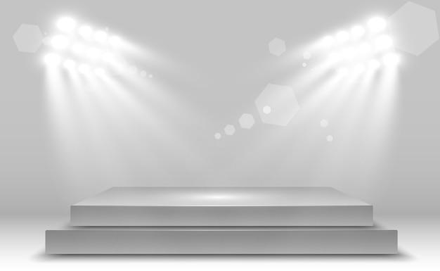 デザインパフォーマンス、ショー、展示会のためのプラットフォームの背景を持つリアルな3dライトボックス。ライトボックススタジオインテリア。スポットライトで表彰台。