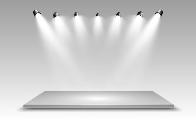 デザインパフォーマンス、ショー、展示会のためのプラットフォームの背景を持つリアルな3dライトボックス。