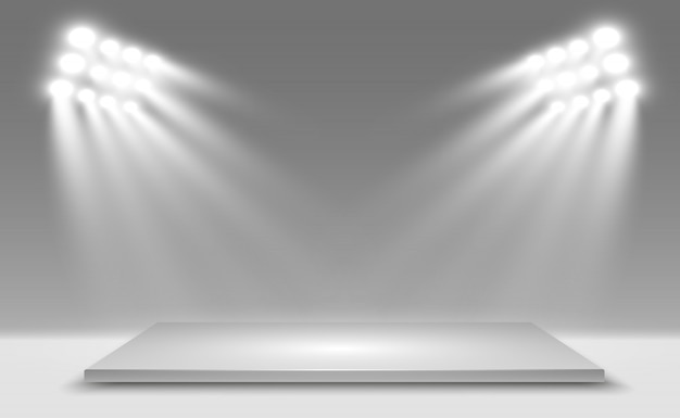Реалистичная 3d лайтбокс с платформой фон для представления, шоу, выставки. иллюстрация лайтбокса интерьер студии. подиум с прожекторами.