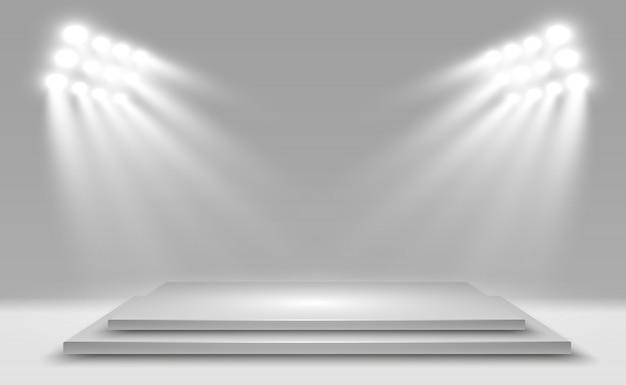 パフォーマンス、ショー、展示のためのプラットフォームの背景を持つリアルな3dライトボックス。ライトボックススタジオインテリアのイラスト。スポットライトと表彰台。