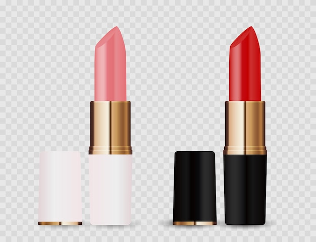 Realistic 3d light pink and red lipstick icon