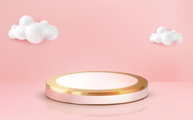 Realistic 3d luxury gold pink pastel podium golden stage on pink background