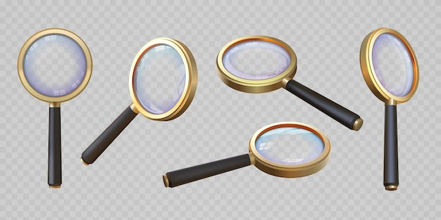 Realistic 3d magnifying glass top and angle view. magnifier with transparent lens. magnify lupa, zoom equipment. search concept vector set. tool for investigation or detail analysis