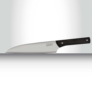 Realistic 3d metal knife on a surface