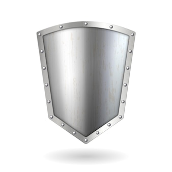 リアルな3dメタルシルバーシールドアイコン。クロームメッキの金属鋼シールド。白い背景で隔離のセキュリティと保護のエンブレムテンプレート。ベクトルイラスト