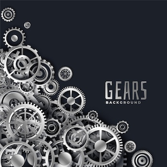 Realistic 3d metallic gears background