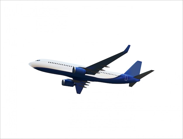 Realistic 3d model of an airplane flying in the air of white and blue coloring.