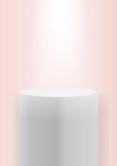 スポットライト付きのリアルな3d博物館の表彰台空白の製品台座テンプレート Premiumベクター