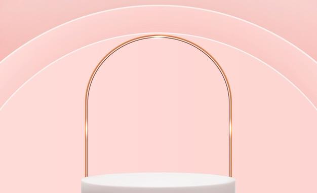 ピンクの円の背景上の現実的な3d台座広告のためのトレンディな空の表彰台ディスプレイ化粧品のプレゼンテーション