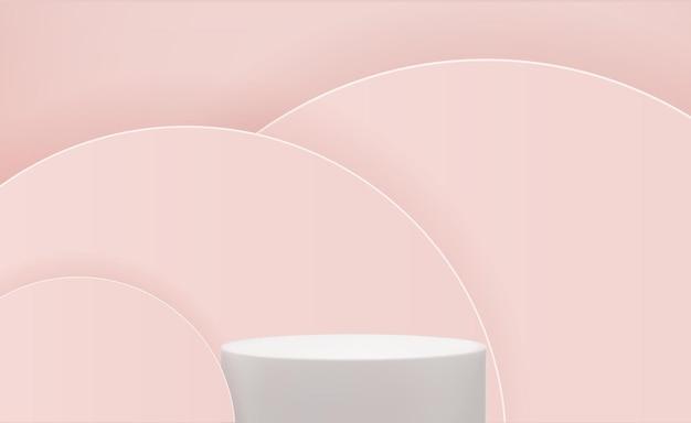 ピンクの円の背景にリアルな3d台座