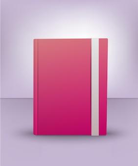 リアルな3dピンクの本。日記、ノート、アートノート。本のモックアップ。