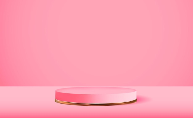 Realistic 3d pink pedestal over pink background trendy empty podium display for cosmetic product presentation fashion magazine