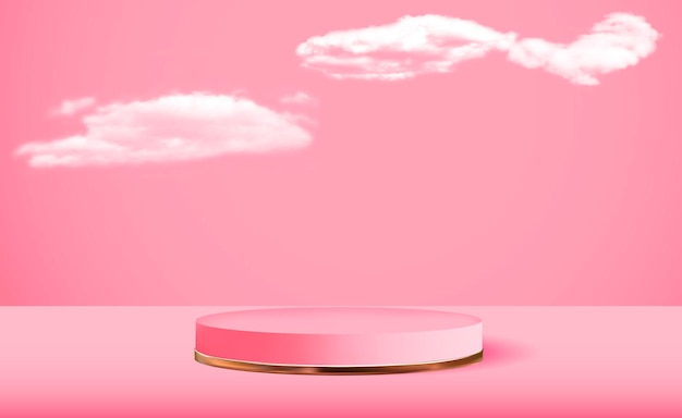 Realistic 3d pink pedestal over pink cloud background trendy empty podium display for cosmetic product presentation fashion magazine