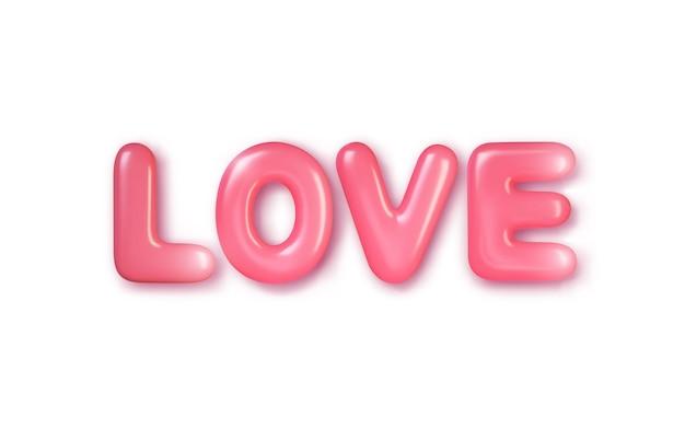 Реалистичный 3d розовый текст. любить