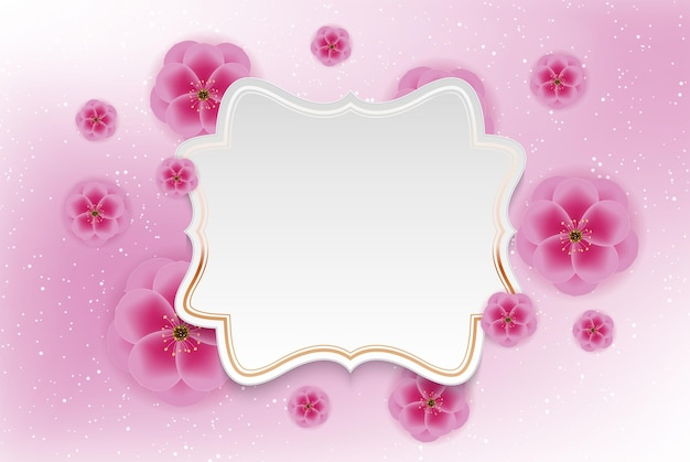 Realistic 3d plum flower background with golen frame template