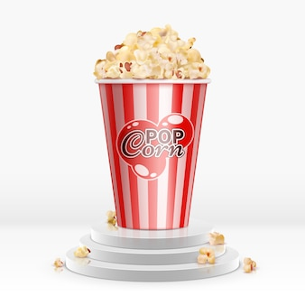 Realistic 3d popcorn in disposable bowl on pedestal.