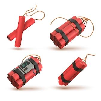 전자 타이머 기폭 장치가 있는 현실적인 3d 빨간색 다이너마이트 폭탄. tnt는 심지로 붙습니다. 폭발성 무기, 불꽃, 폭죽 벡터 세트. 폭발할 준비가 된 퓨즈가 있는 카운트다운 시계