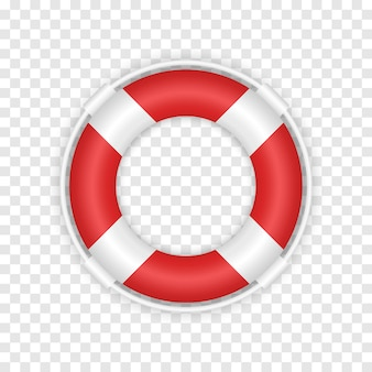 Realistic 3d red lifebuoy. marine rescue lifeboat illustration isolated on transparent background