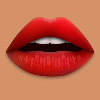 Realistic 3d red lips isolated.