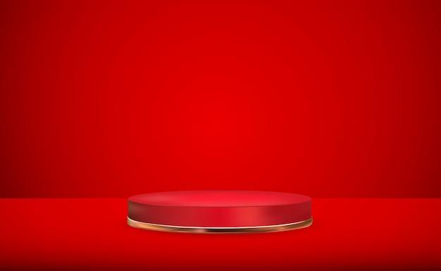赤い背景の上の現実的な3d赤い台座化粧品プレゼンテーションファッション雑誌のためのトレンディな空の表彰台ディスプレイ