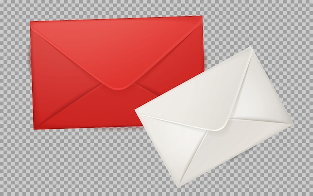 Realistic 3d red and white envelope illustration
