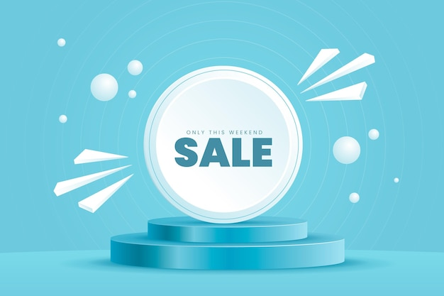Sfondo di vendita 3d realistico con piedistallo