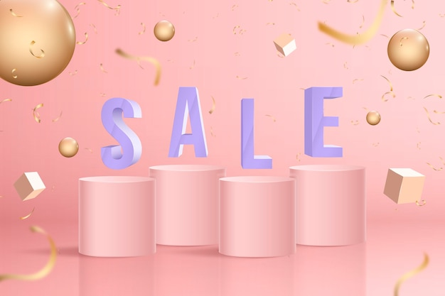 Realistic 3d sale background