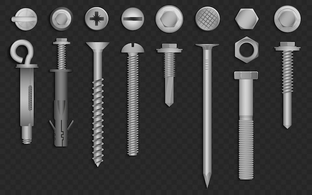 Realistic 3d  screws, nuts, bolts, rivets and nails for fastening and fixing on black alpha transperant background.