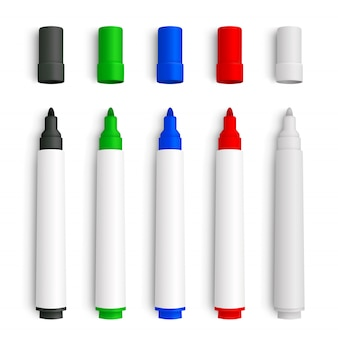 Realistic 3d set of marker pens, red, green, yellow, black and white