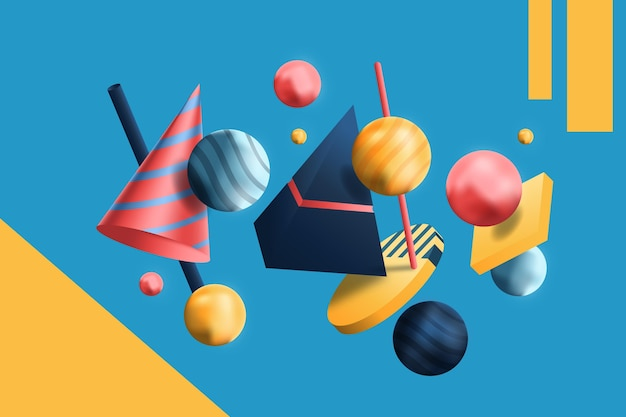 Realistic 3d shapes floating background
