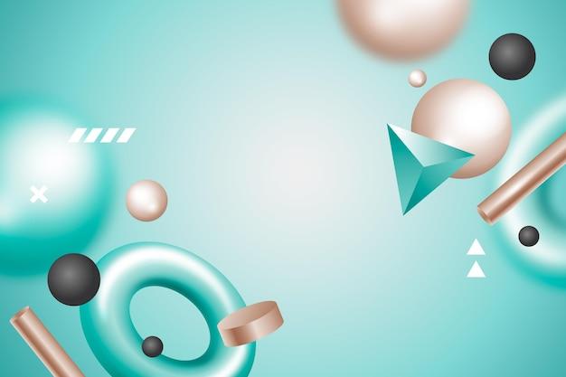Realistiche forme 3d che galleggiano sullo sfondo Vettore gratuito