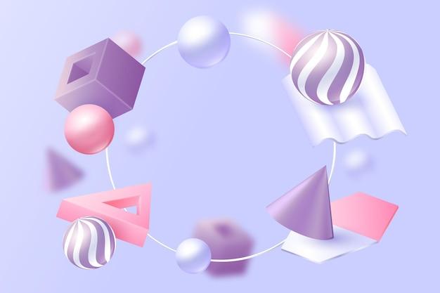 Realistiche forme 3d che galleggiano sullo sfondo