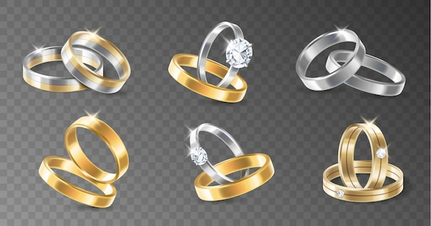 Realistic 3d shining set of engagement wedding silver and gold plated metallic rings. pairs of rings on transparent background isolated. vector illustration