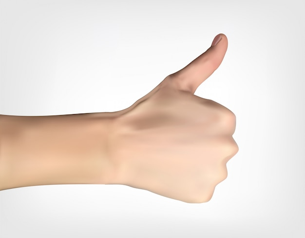Realistic 3d silhouette of hand with raised thumb ating