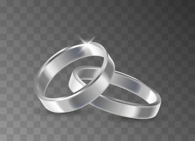 リアルな3dシルバー結婚指輪ペア。結婚したカップルのために分離された透明な背景に結婚式のメッキされた金属リングの輝くセット。ベクトルイラスト