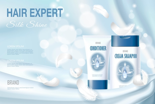 Realistic 3d skin care cream ad template