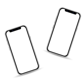 Realistic 3d smartphone template isolated on white background, copy space on touch screen
