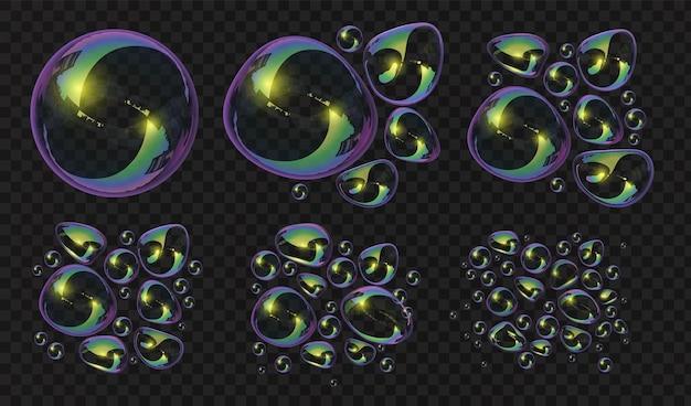リアルな3dシャボン玉とブロブが変形を壊します。反射のある光沢のある球。透明バスフォーム水泡吹くベクトルセット