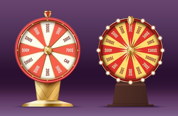 Realistic 3d spinning fortune wheel, lucky roulette with glowing lights for casino entertainment and gambling concept. vector illustration