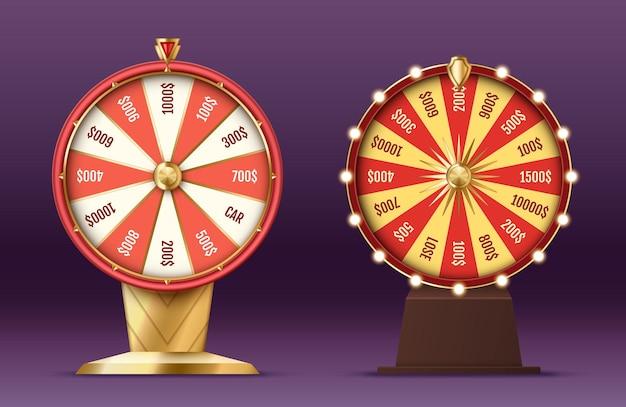 リアルな3dスピニングフォーチュンホイール、カジノエンターテインメントとギャンブルのコンセプトのための光るライト付きのラッキールーレット。ベクトルイラスト