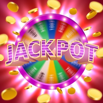 Realistic 3d spinning fortune wheel with flying golden coins. lucky roulette. casino