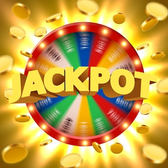 Realistic 3d spinning fortune wheel with flying golden coins. lucky roulette.